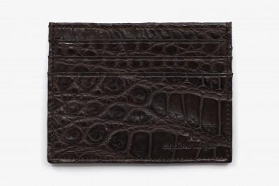 Porte cartes croco marron fonce