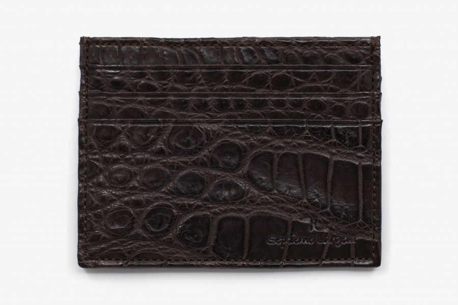 Porte cartes croco marron fonce