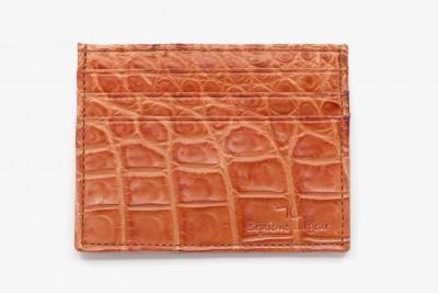 Porte cartes croco orange