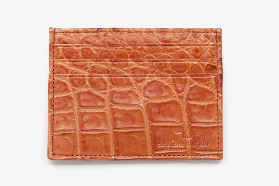 Porte cartes croco orange