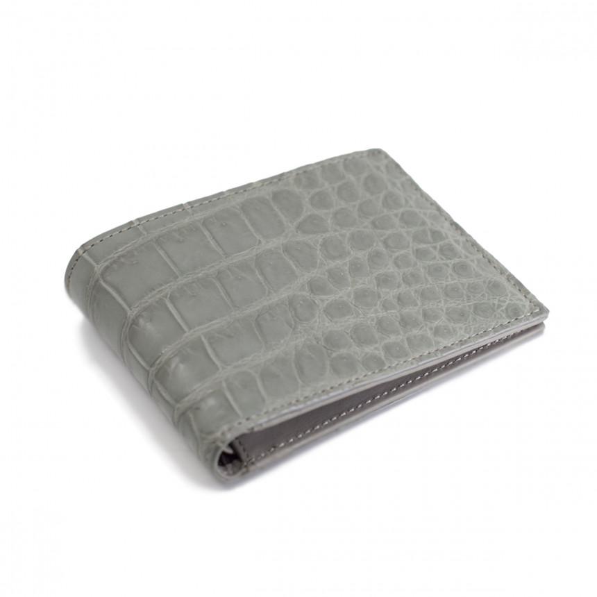 Portefeuille croco gris
