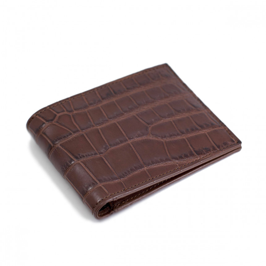 Portefeuille croco chocolat