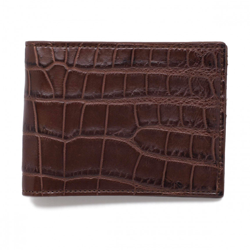 Portefeuille croco chocolat