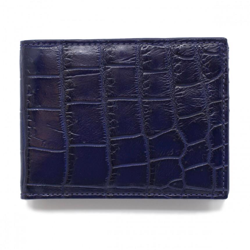 Portefeuille croco bleu