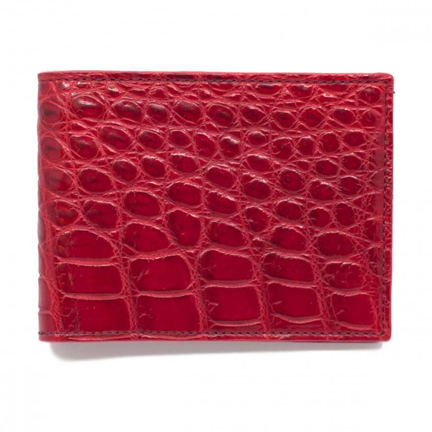 Portefeuille croco rouge