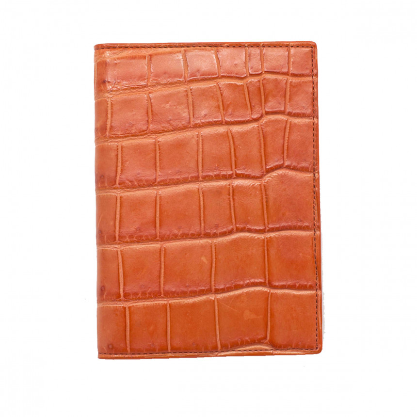 Porte-passeport croco orange