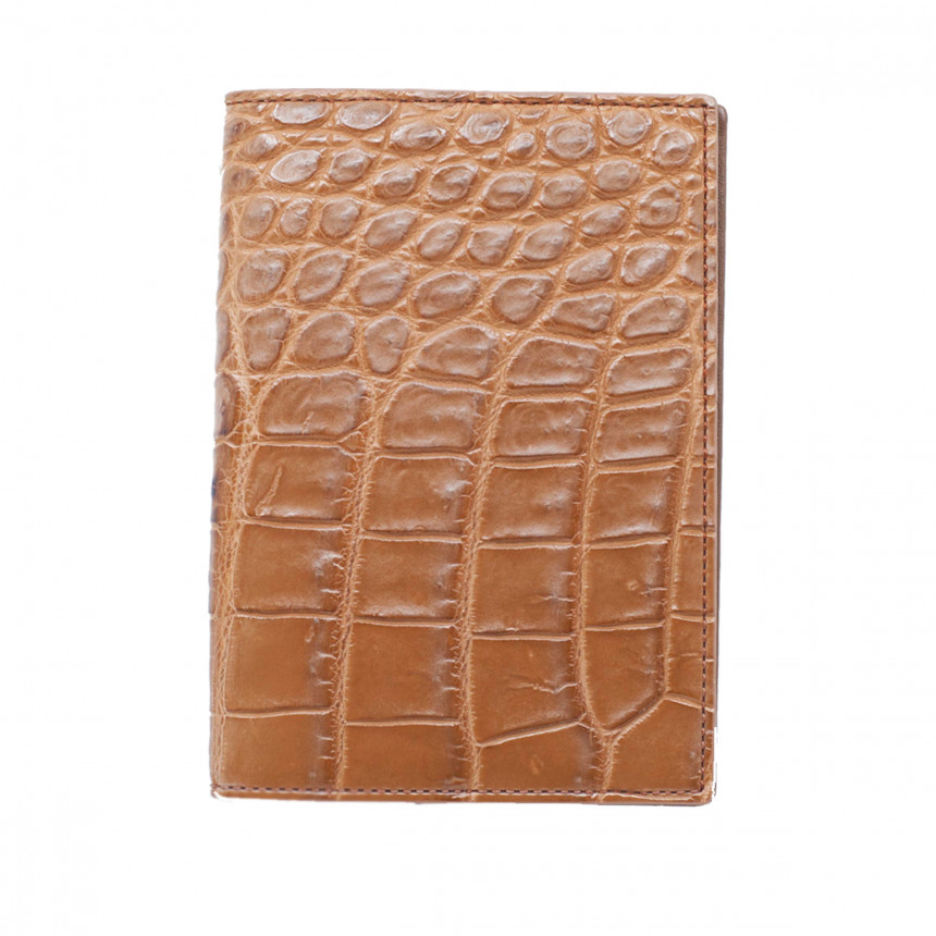 Porte-passeport croco beige